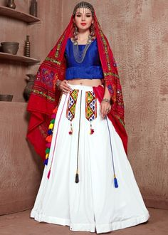 #white #embroidery #navaratri #lehenga #choli #dupatta #designs # traditional #indian #outfits #gorgeous #wedding #look #ootd #new #arrival #womenswear #online #shopping Cotton Lehenga, Lehenga Choli, Anarkali, Festival Wear, Festival Fashion, Dandiya Dress, Navratri Special, Choli Designs, Party Wear Lehenga