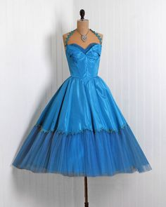 1950's Vintage Emma Domb Designer-Couture Turquoise-Blue Taffeta Net-Tulle Petal-Bust Halter Bombshell Circle-Skirt Party Dress & Bolero
