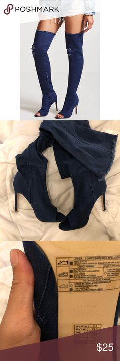 OVER THE KNEE DARK DENIM HEEL BOOTS SIZE = 5.5 US  NEW NEVER WORN NWOT  A pair of over-the-knee boots constructed from a stretch-denim featuring an open toe, distressed detail, frayed trim, a concealed side zip closure, elasticized opening, and a stiletto heel. Forever 21 Shoes Over the Knee Boots