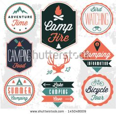 Camping Vector badges and labels in #Vintage style by butterflycreative, via ShutterStock