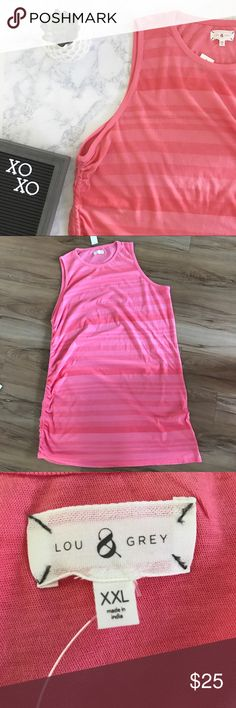 Lou & Grey Stripe Ruched Softserve Cotton Dress Size XXL, Pink Striped Dress, Sleeveless, Ruched on one side, color is Coral Multi, chest 25in, Length from armpit on ruched side 23in, new with tags Lou & Grey Dresses Mini