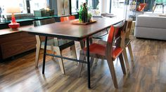 Housefish Lock chairs with a Gus* Modern School table, at Stylegarage in Toronto.