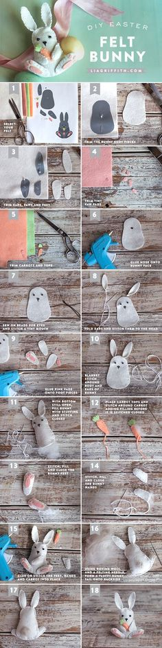 This Easter bunny is an easy felt craft project even for those of us that have l. - This Easter bunny is an easy felt craft project even for those of us that have l. Easy Felt Crafts, Felt Diy, Easter Crafts, Diy And Crafts, Spring Crafts, Holiday Crafts, Felt Bunny, Easter Bunny, Bunny Plush