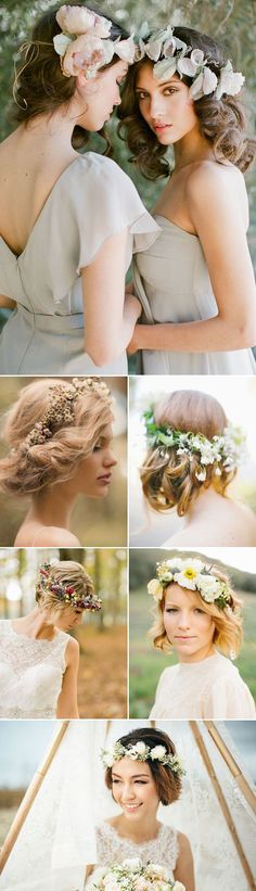 """16 Unique Hairdos that Look Perfect with Flower Crowns! Create the chic """"short hair"""" look! + #AislePerfect Flower Crowns! #weddingcrowns"""