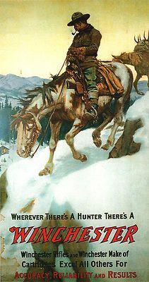 "Philip R. Goodwin, Winchester Guns Print, Cowboy, Horse, Southwestern ART, 19"""