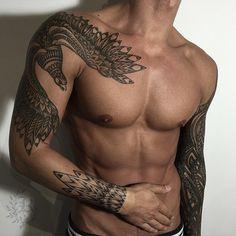 Good looking mens tribal tattoo. Bird tattoo. Tattoo sleeve. Hot men