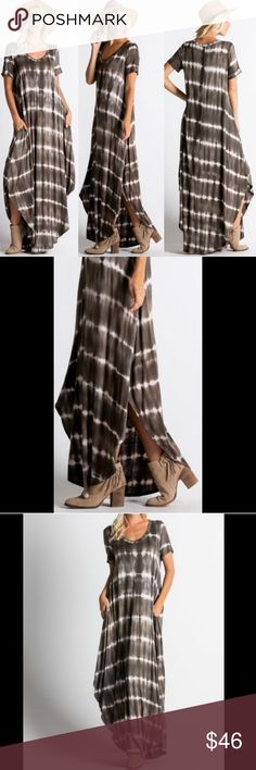☀️RESTOCKED☀️HOST PICK Olive Tie Dye Maxi Rounded hemline. Side slit pockets. Made in U.S.A.. Brand new boutique retail w/o tag. No trades, no off App transactions or negotiations. Touch Buy Now and you will be prompted to select size.       Sexy Cruise Vacation Spring Summer Short Sleeve Leoninus Dresses Maxi