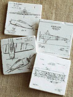Airplane Decor- Vintage Airplane, Pilot Gift, Pilot Decor, Flying Gift, Airplane Gift, Plane Tile, Plane Gift, Plane Decor, Coaster, Trivet