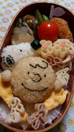 Snoopy & Charlie Brown Riceballs, Japanese Bento Lunch.[kyaraben or charaben]