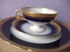 Antique JPL Limoges France flow blue tea cup trio, Victorian tea set, tea cup and saucer plate, blue and gold china tea cup French porcelain on Etsy, $167.89 CAD