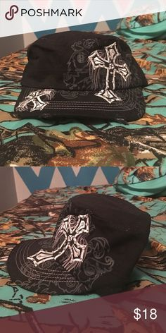 Leader hat Black hat, with rhinestone cross on the front Accessories Hats