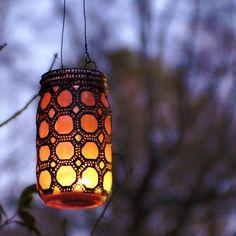 Stunning! Mason Jar Lanterns with Moroccan Henna Designs, win a set! #PinToWin  #DotBoWin