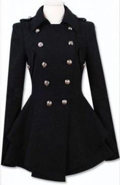 Black Military Double Skirt Hem Woolen Coat