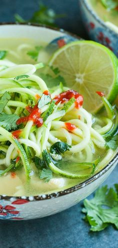 Sriracha Lime Chicken Zoodle Soup :: a super tasty + HEALTHY zucchini noodle recipe ready in just 15 minutes!