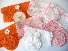 Napkin Crochet Bag - Handmade - Several Colors and Sizes - Orange, White, Pink