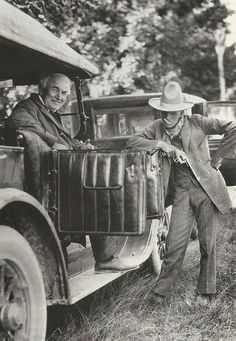 Henry Ford, dressed as a cowboy, with Thomas Edison, 1923