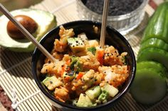 The prime ingredients of sushi combine to create an easy and filling salad, no rolling required!