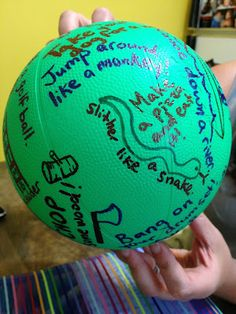 Toss and move ball: use a sharpie and write fun movements all over ( the kids can help come up with crazy stuff ). To use the movement ball, students simply toss, catch, and do the move that is beneath their right thumb!
