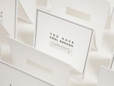 STANDING CARD by cool enough studio.  www.coolenoughstudio.com Place Cards, Container, Place Card Holders, Studio, Design, Studios