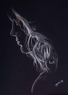 Black and White by Garvel #Pastel #Drawing #Dibujo #Garvel