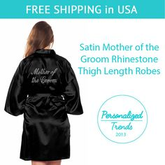 Black Satin Mother of the Groom Thigh Length by PersonalizedTrends