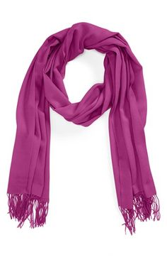 Tissue Weight Wool & Cashmere Wrap in radiant orchid