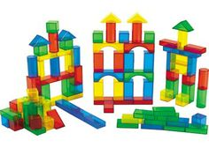 Light & Colour Translucent Coloured Blocks. These colourful and translucent blocks are perfect for the light table. The set of 100 coloured blocks include 7 different shapes and 4 colours.
