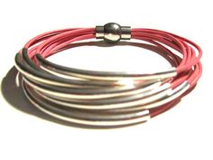 Pink Leather Cuff Bracelet with Silver or Gold by wrapsbyrenzel, $15.99