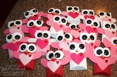 Jill's Card Creations: Pillow box owl Valentines.  Could be cute for the girls' classes