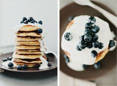 Lemon Pancakes with Yogurt & Berries by sproutedkitchen as adapted from La Tartine Gourmande by Beatrice Peltre: Thin and tender, faintly sweet, these are gluten free! Lemon Blueberry Pancakes, Yogurt Pancakes, Buttermilk Pancakes, Brunch, Whole Food Recipes, Dessert Recipes, Desserts, Dinner Recipes, Lemon Yogurt