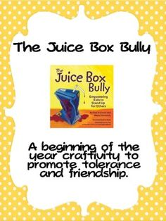 This is a craftivity to use with the book the Juice box bully. It makes for a wonderful bulletin board as well. Haven't heard of the juice box bu. Elementary School Counseling, School Social Work, School Counselor, Elementary Schools, Beginning Of The School Year, New School Year, First Day Of School, Counseling Activities, Book Activities