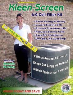 Air Conditioner Protector Filter Screen Condensor Maintenance Helps to Protect from Leaves Animal Hair and Grass Clippings Saves on Maintenance 100 Money Back Guarantee Cynergy Kleen Screen ** Learn more by visiting the image link. Air Conditioner Screen, Ac Cover, Heavy Duty Scissors, Ac Units, Home Repairs, Save Energy, Good To Know, Filter, Grass