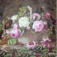 Servítka - Ruže v košíku