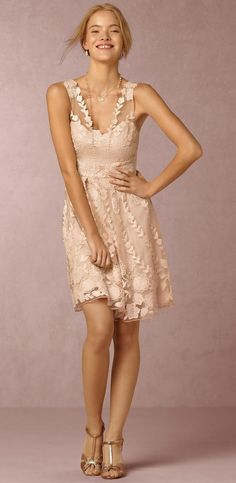 New short pink bridesmaid dresses from BHLDN. Embroidered sheer pink dress for bridesmaids.
