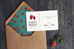 Fresh Love Wedding Invitations from Yours Is The Earth  --  use this idea for xmas christmas cards; craft envelope wuth vibrant liner and smaller-sized-than-necessary white card.
