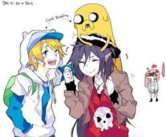 Adventure Time!  Finn and Marceline plus jake and stalker bonnibell bubblegum