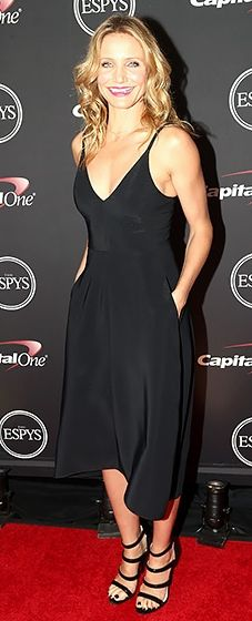 Cameron Diaz wears a chic black tank dress by Reed Krakoff to the 2014 ESPYS