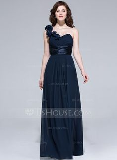 A-Line/Princess One-Shoulder Floor-Length Chiffon Charmeuse Bridesmaid Dress With Ruffle Flower(s) #007037284   http://www.jjshouse.com/A-Line-Princess-One-Shoulder-Floor-Length-Chiffon-Charmeuse-Bridesmaid-Dress-With-Ruffle-Flower-S-007037284-g37284