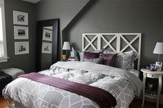 Preto, cinza e roxo na decoração do quarto