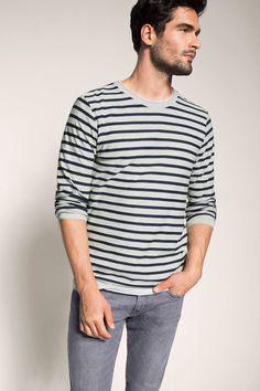 Esprit - Trui van een katoenmix met strepen kopen in de online shop
