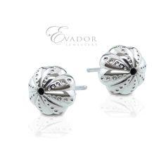 Evador Sea Urchins stud earrings hand made in sterling silver.