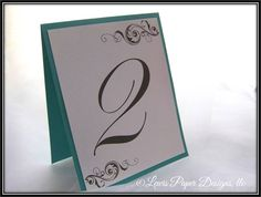 Wedding Table Number Cards  Teal Table Tent  Table Number