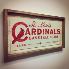 St. Louis Cardinals Baseball Club hand painted sign. Measures 26x14. Hand made in the USA by Shanty Town Home Decor. www.facebook.com/shantytownhomedecor