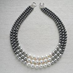 Colore blocco Triple Decker collana in grigio 3 filo