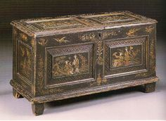 Charles II polychrome-painted and black-japanned coffer, second half 17th century. By repute, from Ham House, Surrey