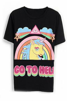 GO TO HELL&Unicorn Print Black T-shirt