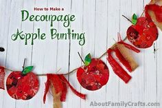 Mentally travel back to a family apple-picking trip when you hang this bunting from your porch — made with red snippets of catalogs and magazines. Get the tutorial at About Family Crafts Crafts To Do, Crafts For Kids, Paper Crafts, Diy Crafts, Rustic Crafts, Simple Crafts, Burlap Crafts, Recycled Crafts, Paper Art