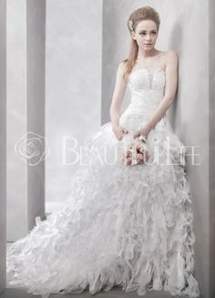 $343.99 PURE Strapless Satin #Ball #Gown #Wedding #Dress With Beadings And Feather Style Hemline
