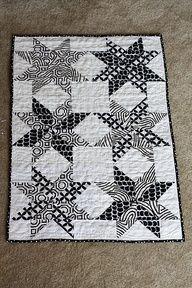 Black and White Star - http://quiltingimage.com/black-and-white-star/