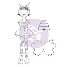 JN Doll Stamps-Bee Girl